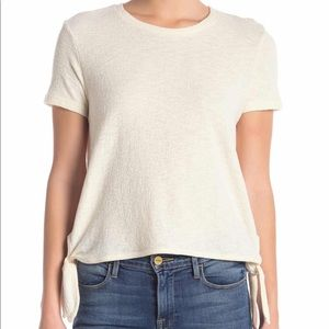 NWT Madewell White Side Tie Short Sleeve Tee XL